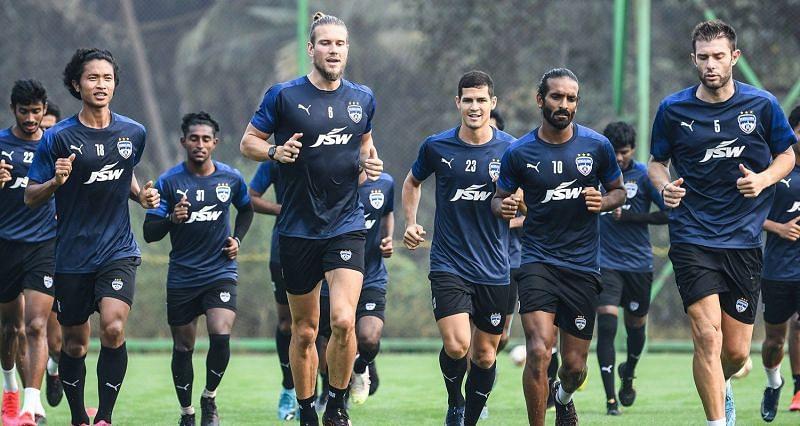 Bengaluru FC squad undergoing training ahead of their Hyderabad FC clash (Image - Bengaluru FC Twitter)