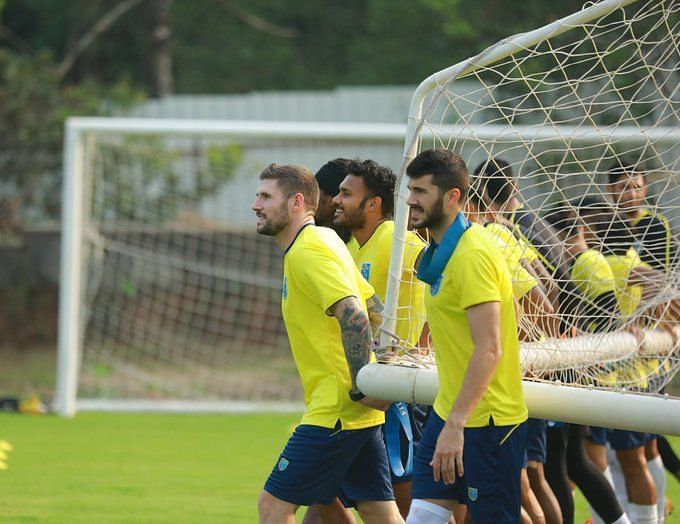 Kerala Blasters players during a training session