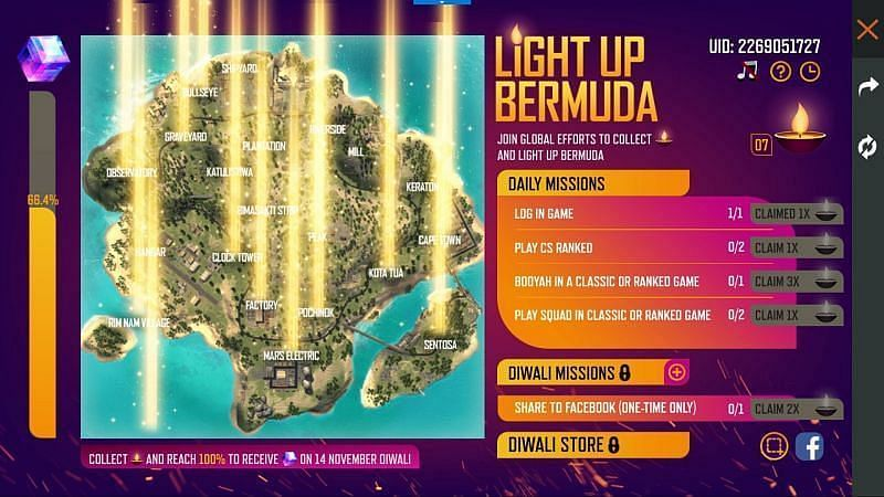 The Light up Bermuda event in Free Fire