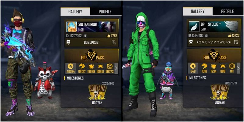Free Fire IDs of both Sultan Proslo and Syblus