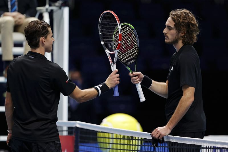 Dominic Thiem (L) and Stefanos Tsitsipas at the Nitto ATP Tour Finals 2020