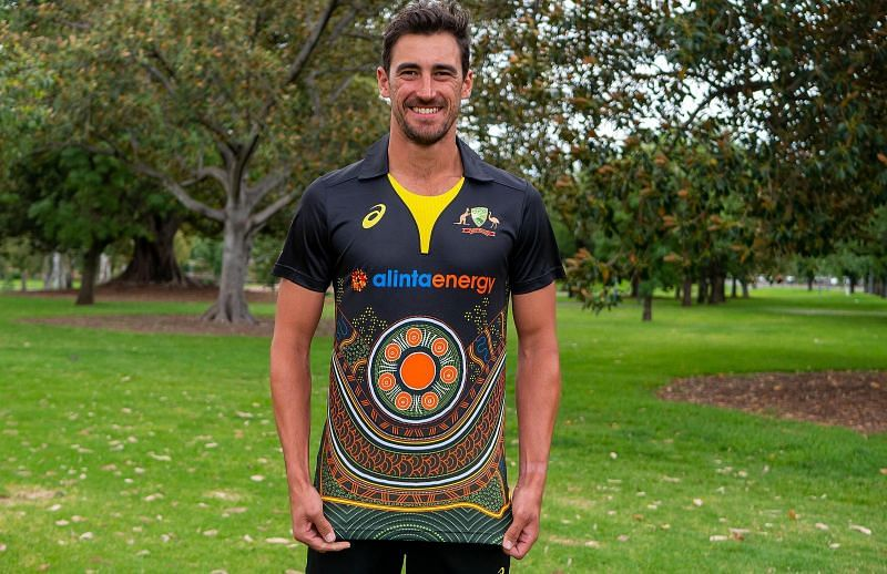 Mitchell Starc in the Indigenous jersey which will be worn during T20I against India [courtesy: cricket.com.au]