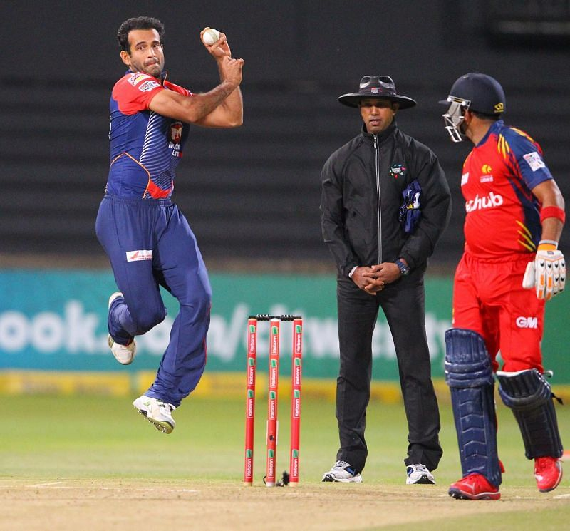 Irfan Pathan in action during the CLT20 2012 semi-final