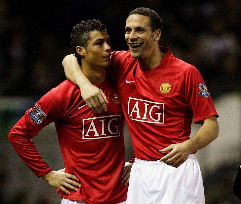 Rio Ferdinand and Cristiano Ronaldo at Manchester United