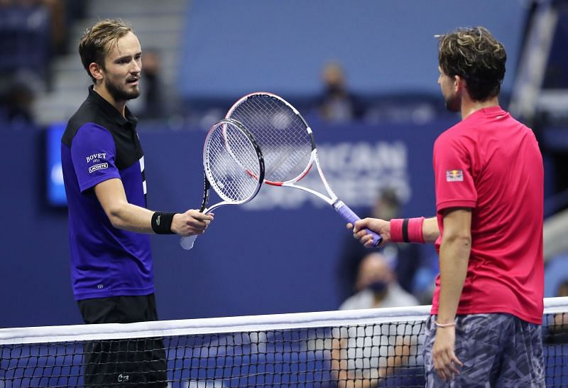 Daniil Medvedev and Dominic Thiem tap rackets after their semifinal match at the 2020 US Open