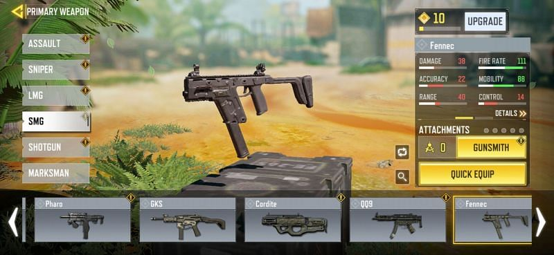 The Fennec SMG in COD Mobile