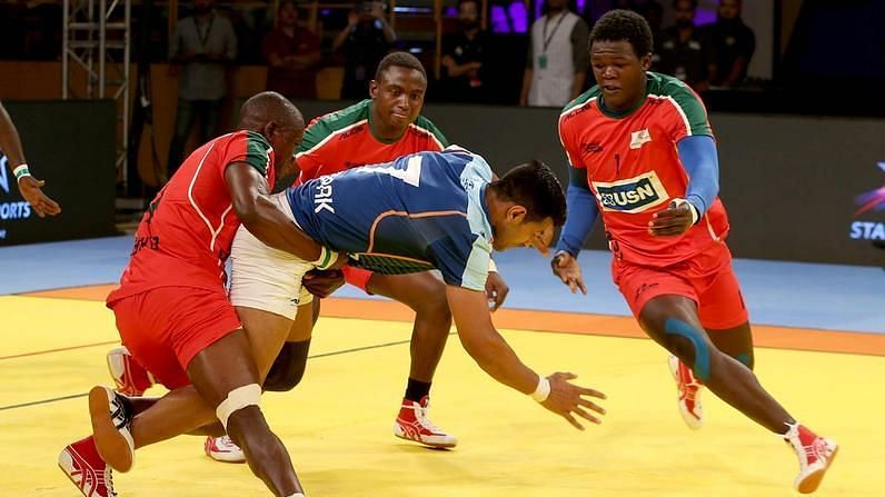 Victor Obiero (right) played for the Tamil Thalaivas in the last two editions.