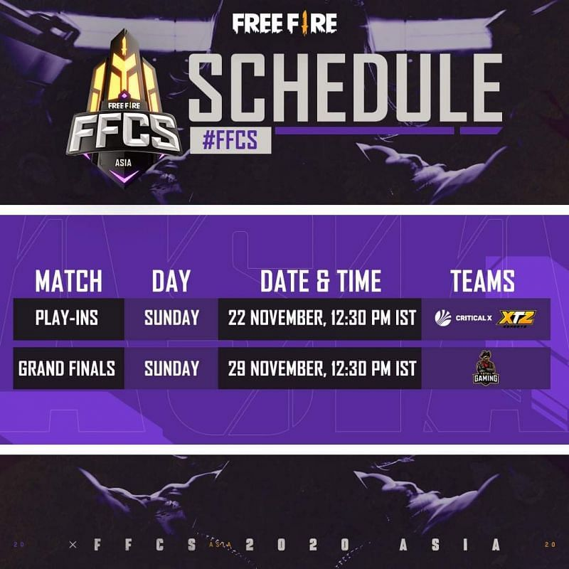 Free Fire Continental Series 2020: Asia schedule