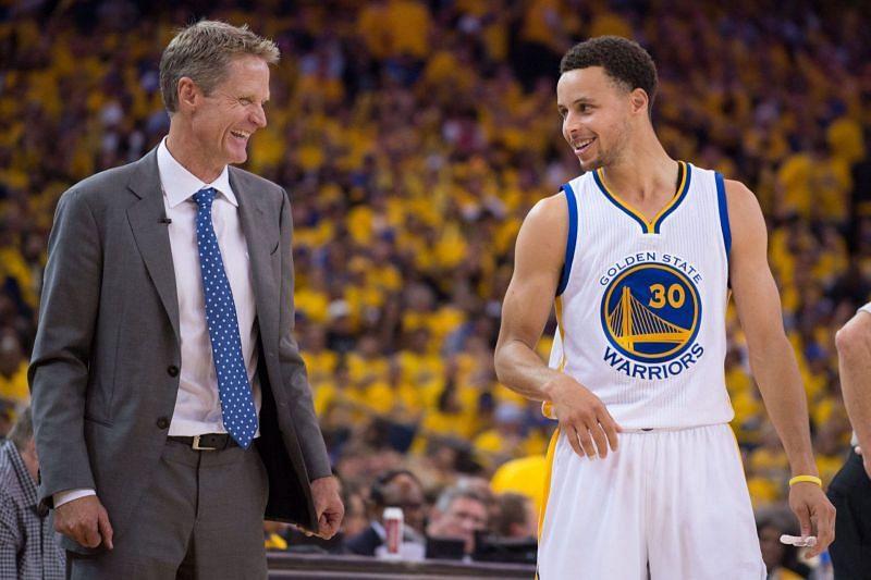 Warriors head coach Steve Kerr and Stephen Curry