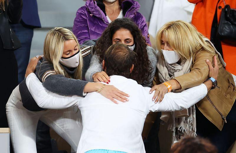 Rafael Nadal with his family at Roland Garros 2020