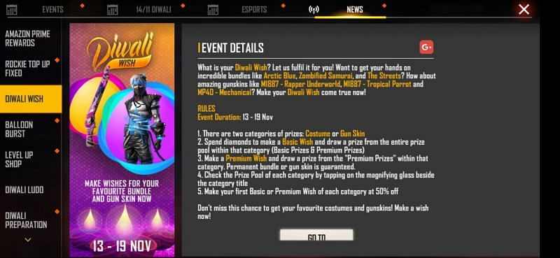 Event rules and description