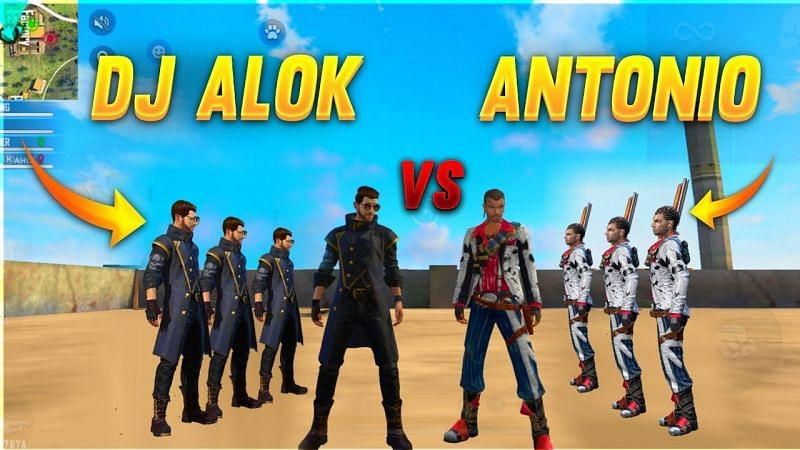 DJ Alok and Antonio are two of the most popular characters among both aggressive and passive players in Free Fire (Image Credits: AS Gaming)