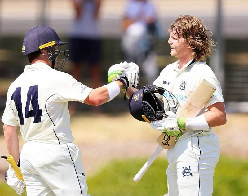 Will Pucovski (right) and Marcus Harris during their record 486-run stand in the Sheffield Shield earlier this year