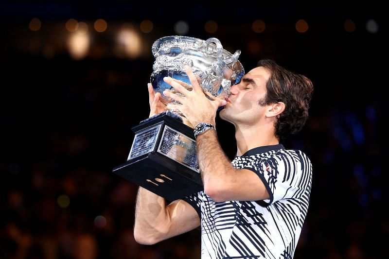Roger Federer with his 2017 Australian Open title.