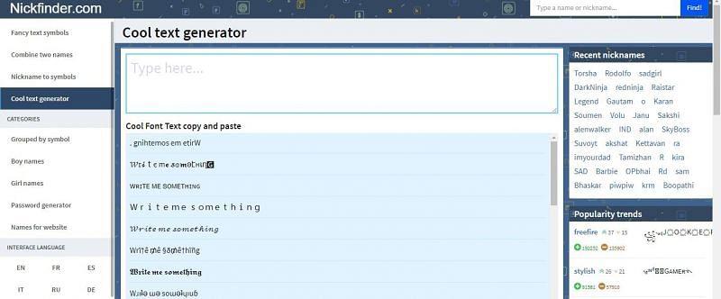 Cool text Generator on Nickfinder