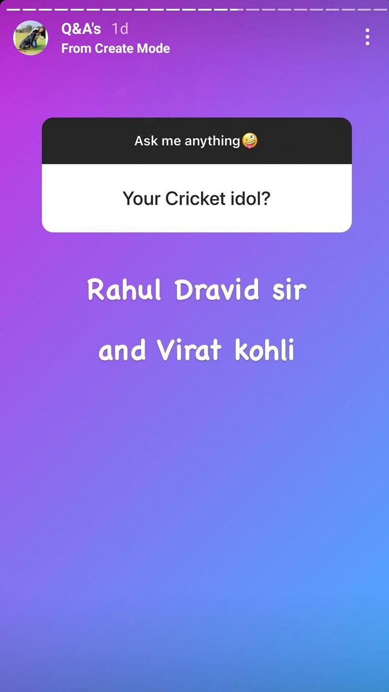 Priya Punia said she idolizes Rahul Dravid and Virat Kohli