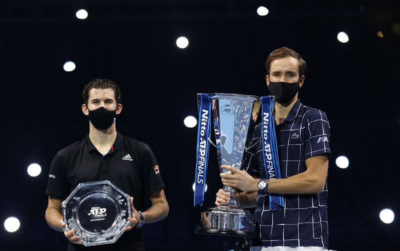 Dominic Thiem (L) and Daniil Medvedev at the Nitto ATP Finals 2020