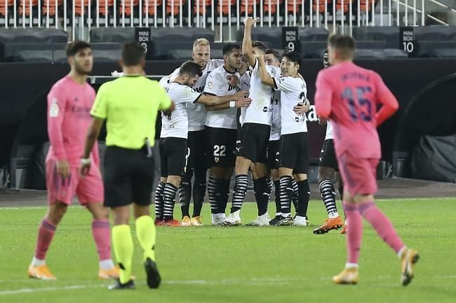 Valencia secured a thumping victory over Real Madrid after Soler dispatched three penalties.