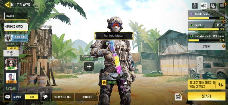 Ranked match screen