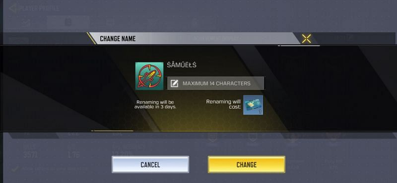 Type and rename the character in COD Mobile
