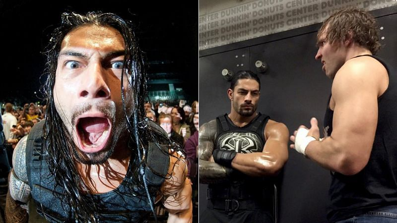 Roman Reigns at a WWE show (left); Roman Reigns and Dean Ambrose (right)