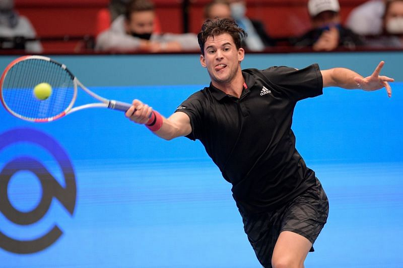 Dominic Thiem at the Erste Bank Open tennis tournament in Vienna, Austria