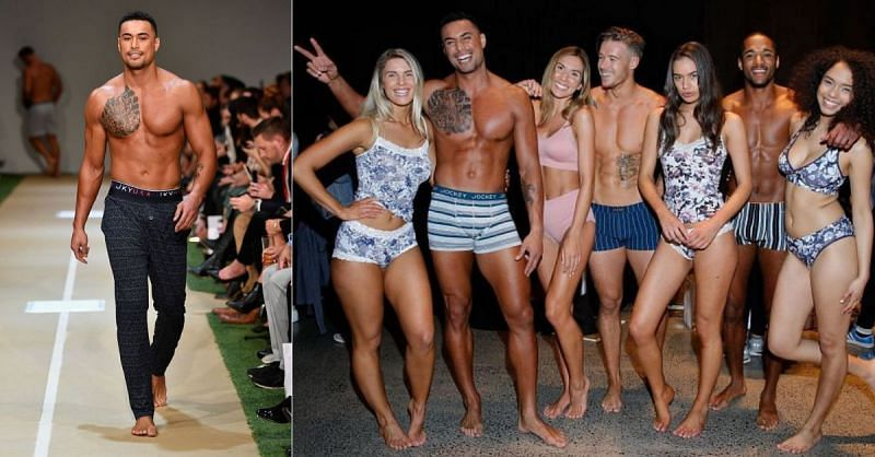 New UFC light heavyweight Carlos Ulberg at the New Zealand Fashion Week in 2018