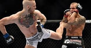 Conor McGregor and Dustin Poirier at UFC 178
