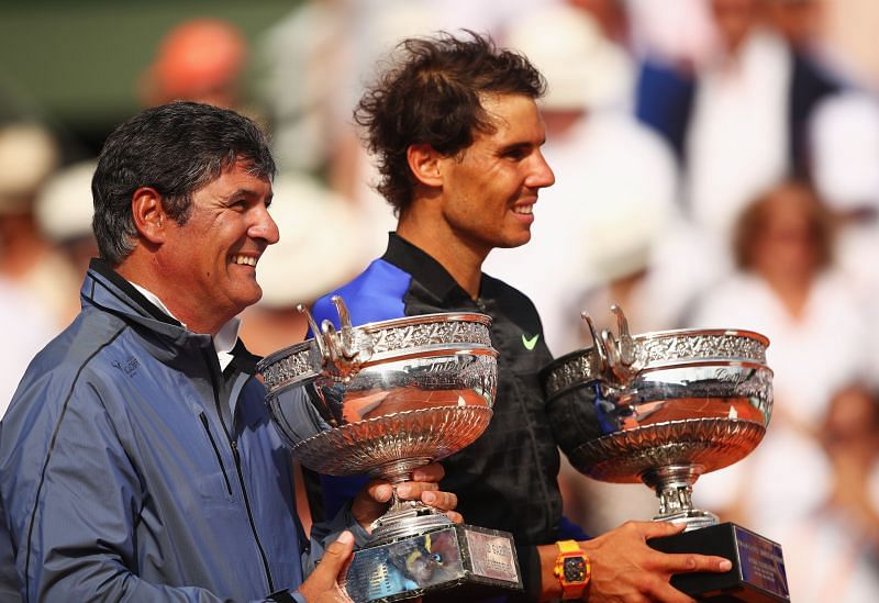 Rafael Nadal with coach Toni Nadal at the 2017 French Open