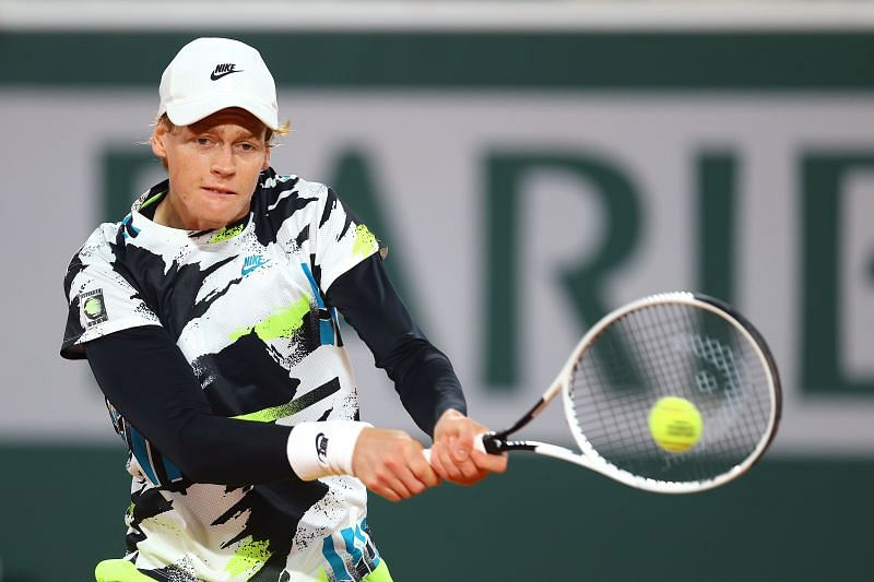 Jannik Sinner during his match against Rafael Nadal at the 2020 French Open