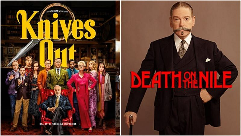 Knives Out (L) and Kenneth Branagh as Hercule Poirot in Death on the Nile (R)