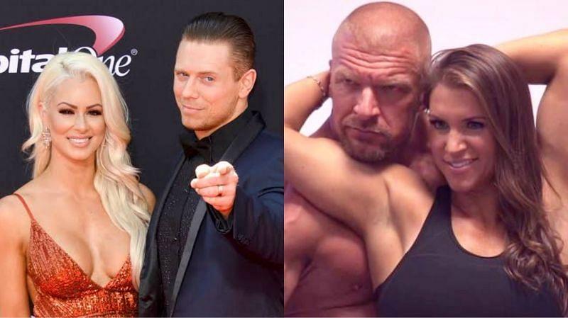 The Miz & Maryse (left) and Triple H & Stephanie McMahon (right)