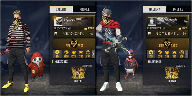 Who has better stats between SK Sabir Boss and 2B Gamer in Free Fire?