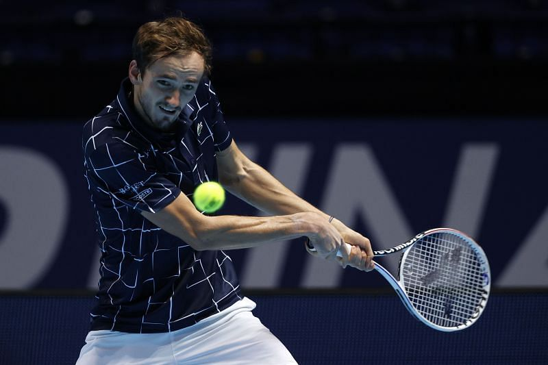 Daniil Medvedev during his group stage win over Novak Djokovic at the ATP Finals