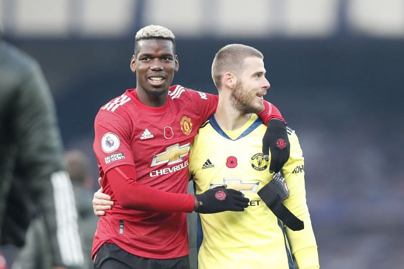 Paul Pogba and David de Gea of Manchester United
