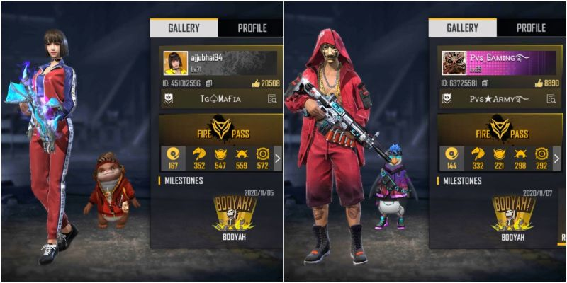 Who has better stats between Ajjubhai and PVS Gaming in Free Fire?
