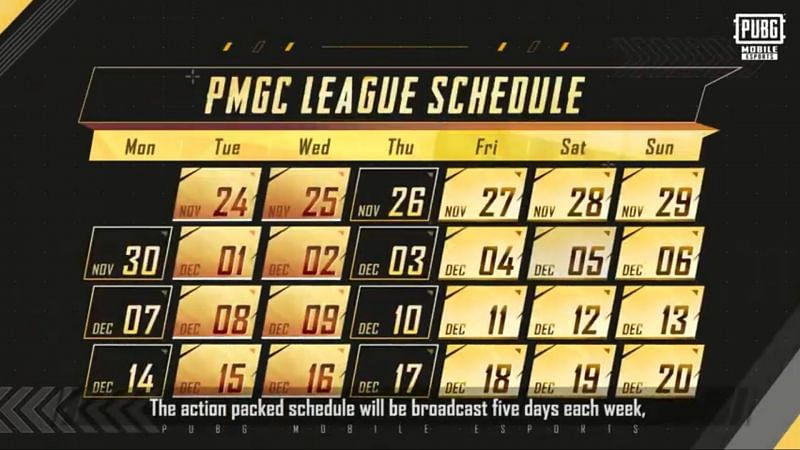 Match days of league stage of the PMGC 2020