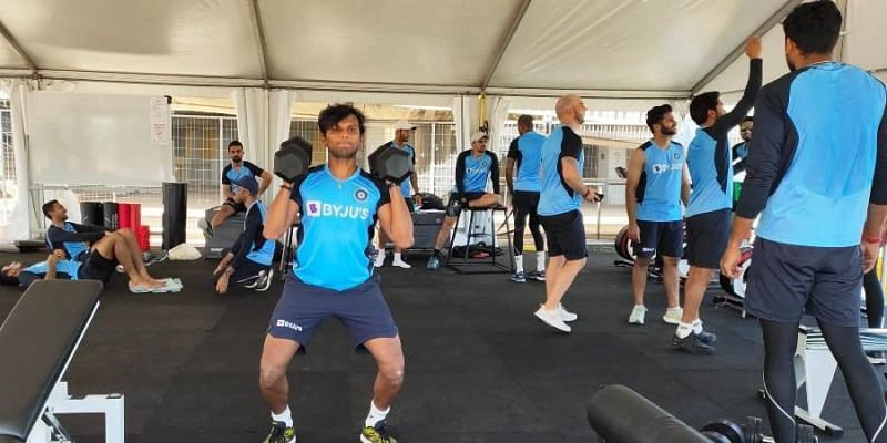T Natarajan during a training session in Australia