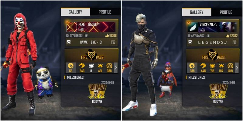 Who has better stats between Badge 99 and Vincenzo in Free Fire?