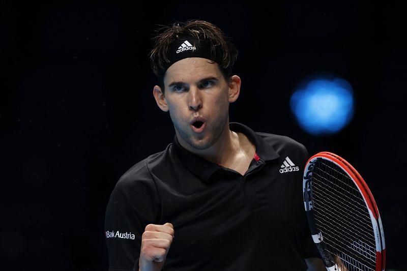 Dominic Thiem celebrates a point against Rafael Nadal