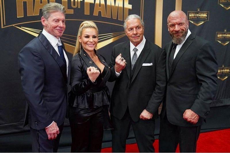 Vince McMahon, Natalya, Bret Hart, and Triple H
