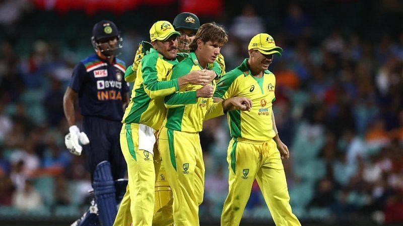 Adam Zampa celebrates with teammates after dismissing Hardik Pandya.. Pic: ICC/Twitter
