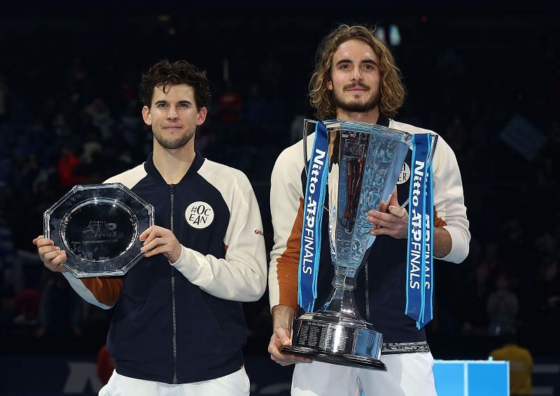 Dominic Thiem (L) and Stefanos Tsitsipas at the 2019 ATP Finals.