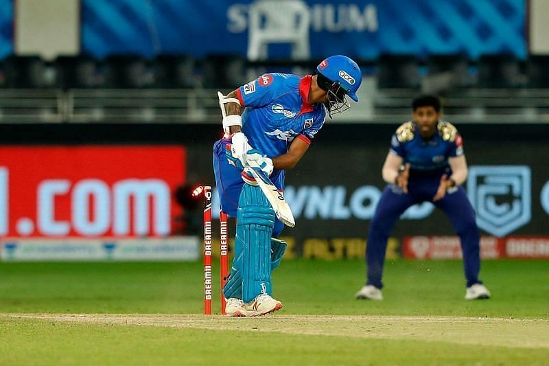 Shikhar Dhawan was cleaned up by a yorker from Jasprit Bumrah.