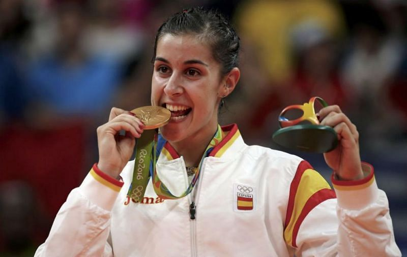 Carolina Marin with the gold medal at 2016 Rio Olympics