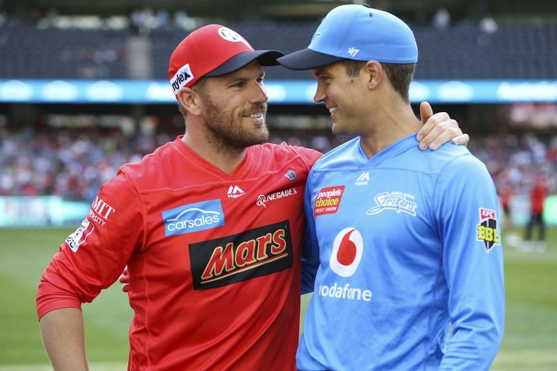 Alex Carey (R) has led the Adelaide Strikers in the past