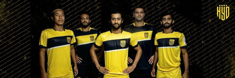 Hyderabad FC players styling the new kit for the ISL 2020/21 season
