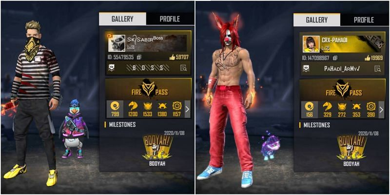 SK Sabir Boss vs CRX Pahadi: Who has the better stats in Free Fire?