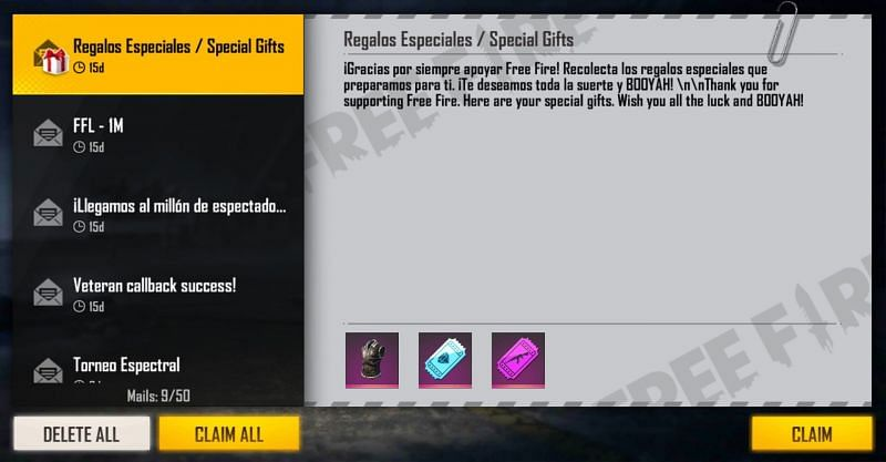 Reward in the mail section