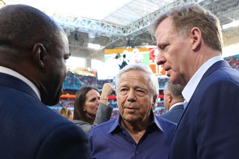 Roger Goodell and NFL owner Robert Kraft